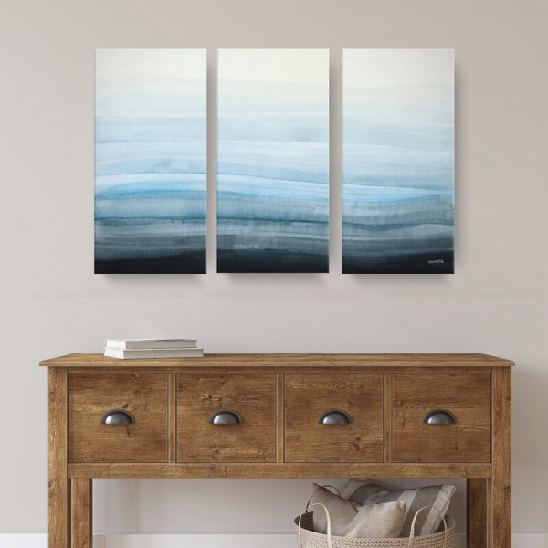 Soothing 3 Piece Wrapped Canvas - The mist on the coast