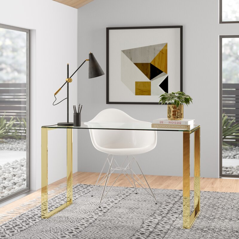 Beautiful polished stainless steel with glass top table
