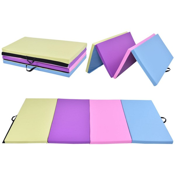 "4' x 8' x 2"" Multi-Colors Folding PU Panel Gymnastics Mat"
