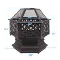 "22"" Hexagonal Shaped Iron Brazier Wood Burning Fire Pit Decoration for Backyard Poolside"