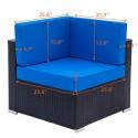 4 Pieces Weaving Rattan Sofa Set with 2pcs Corner Sofas & 1pcs Single Sofas & 1 pcs Coffee Table Black