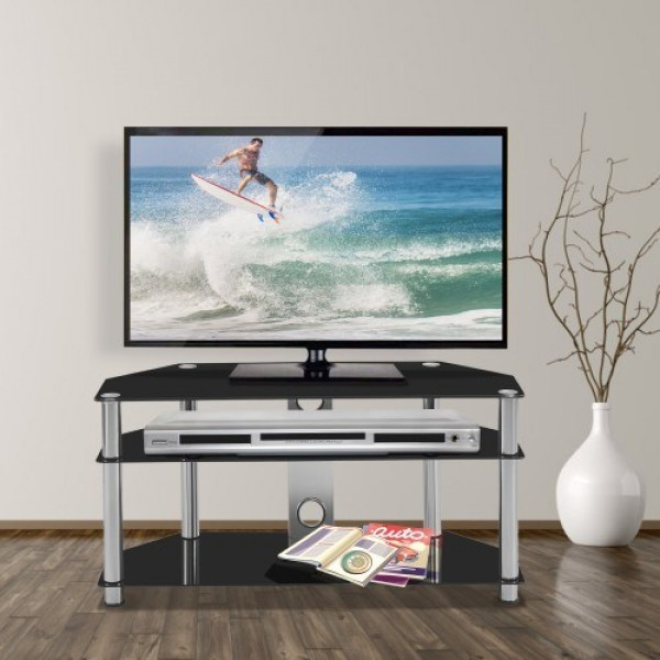 Multi-Function Black Tempered Glass Metal Frame 3-Tier Floor TV Stand For Multiple Media Devices, For Xbox,Ps4, Media Component