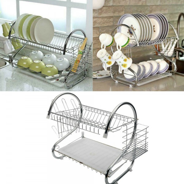 2 Tier Dish Drying Rack Drainer Stainless Steel Kitchen Cutlery Holder Shelf
