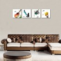 4 Pieces Canvas Wall Art Guitar Piano Phonograph and Drum Set Four Kinds of Classical Music Instruments Picture Music Painting Giclee Art for Home