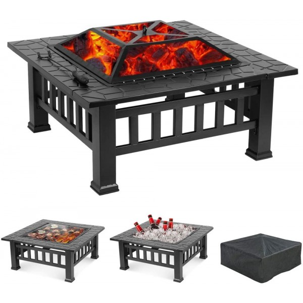 Metal Fire Pit with Cover