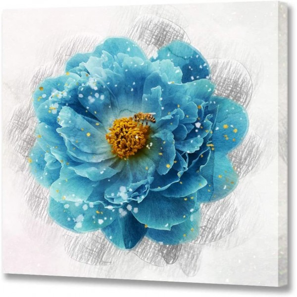 Blue Flower Canvas Wall Art Bee on The Flower Prints Canvas Floral Picture Modern Wall Art Beautiful Blue Wall Paintings for Bathroom Bedroom Home Decorations