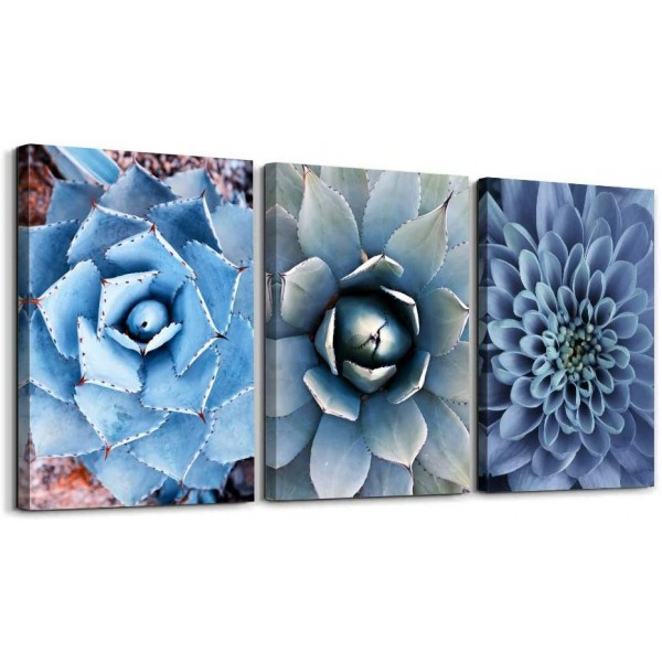Blue Agave Succulents Painting For Bathroom Living Room Wall Art Decor - 3 Panels Abstract Tropical Plants Natural Giclee Decoration Modern Watercolor Life Poster Canvas Picture Ready to Hang