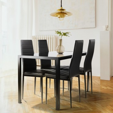 5 Pieces Dining Table Set for 4,Kitchen Room Tempered Glass Dining Table ,4 Faux Leather Chairs ,Black