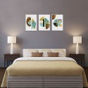 Abstract Canvas Prints Geometric Gold Deer Picture Stretched Wall Art Blue Fan-shaped Bedroom Decorative Painting 3 Pieces