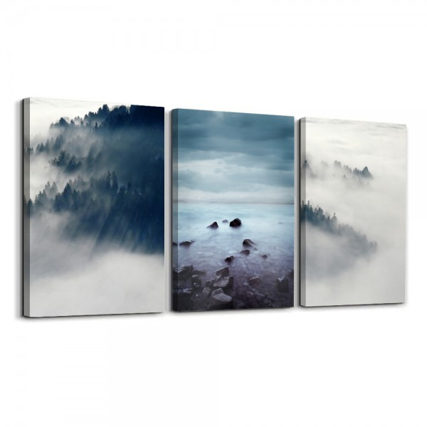 Abstract Wall Art Foggy Forest Wall Paintings Modern Landscape for Living Room