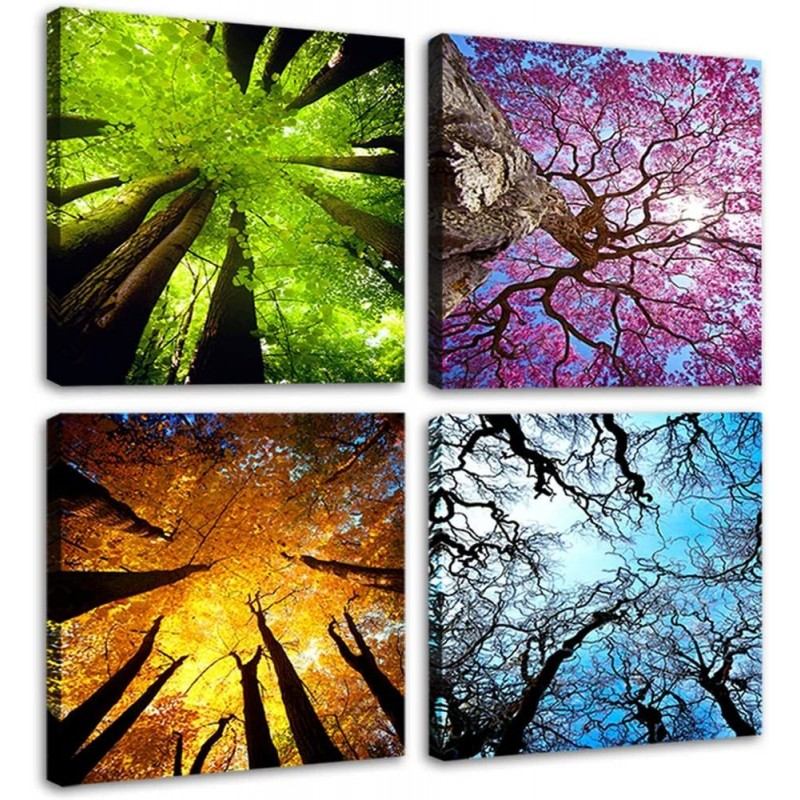 4 Panels Canvas Wall Art Spring Summer Autumn Winter Four Seasons Landscape Color Tree Painting Picture Prints Modern Giclee Artwork Stretched and Framed for Living Room Home Decoration