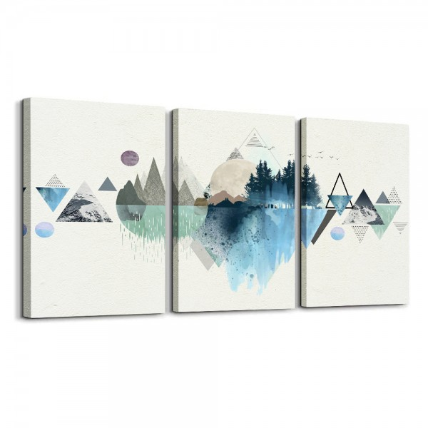 Canvas Prints Wall Art Abstract Mountain Landscape 3 Panels Painting Abstract Geometry Artworks Framed Pictures for Bathroom Wall decor Living Room Decoration