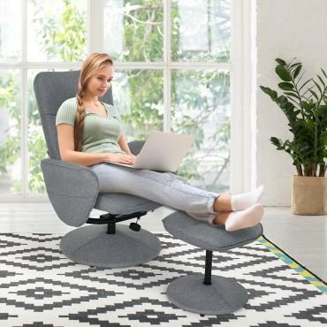 Fabric Massage Swivel Lounge Recliner with Ottoman