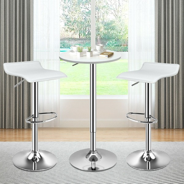 Set of 2 Adjustable PU Leather Backless Bar Stools