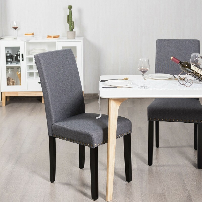 Set of 2 Fabric Upholstered Dining Chairs with Nailhead
