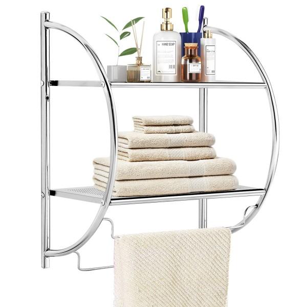2-Tier Wall Mount Shower Organizer Towel Storage Rack