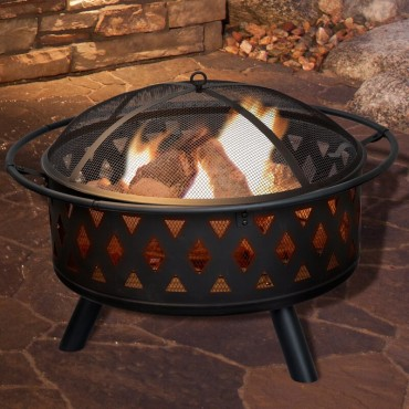 """Steel Wood Fire Pit with 32"""" fire bowl"""